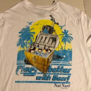 Nat Nast Mens Large Plays Better With Beer T-Shirt